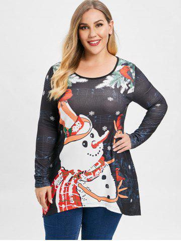 Plus Size Musical Note Snowman Snowflake Christmas Top