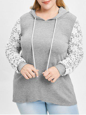 Plus Size Lace Panel High Low Hoodie