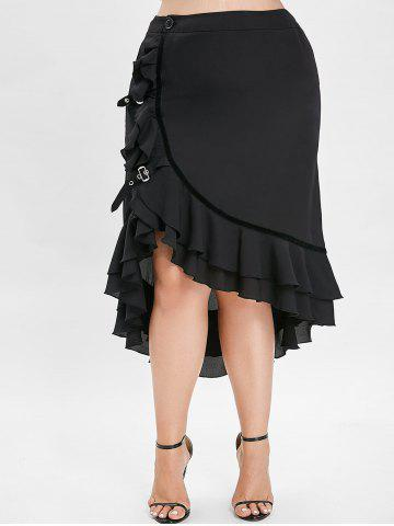 18df5f142b8 Plus Size High Low Maxi Skirt with Flounce