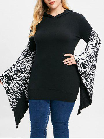 Plus Size Tree Branch Print Flare Sleeve Pullover Hoodie - BLACK - L