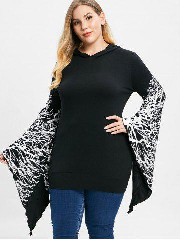 Plus Size Tree Branch Print Flare Sleeve Pullover Hoodie