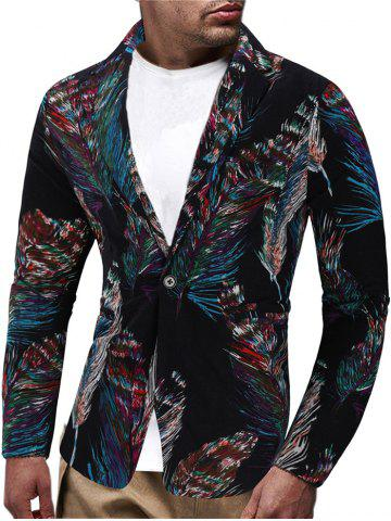 Feather Patter One Button Blazer