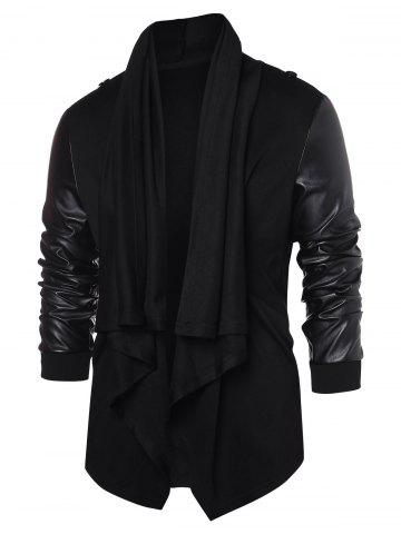 PU Leather Panel Open Front Coat