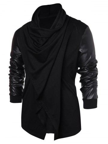 PU Leather Panel Open Front Coat, Black