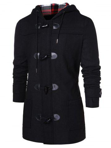 Checked Print Panel Hooded Duffle Coat