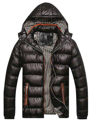 Zip Fly Detachable Hooded Padded Jacket