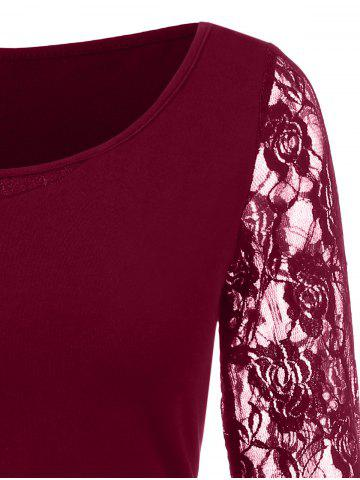 Floral Lace Insert Tee, Red wine