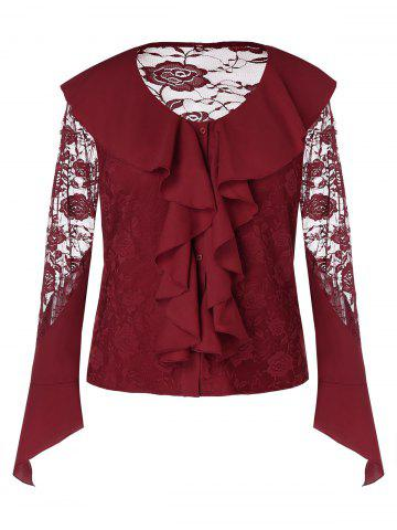 Plus Size See Through Long Sleeves Ruffles Lace Blouse - RED WINE - 1X