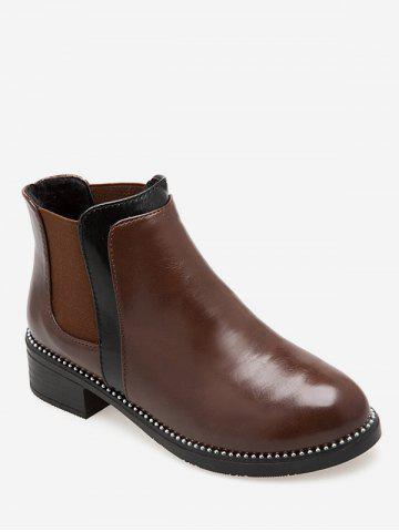 Contrast Color Ankle Chelsea Boots - DEEP BROWN - EU 37