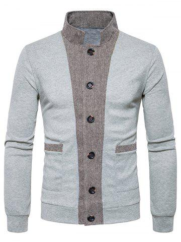 Button Up Stand Collar Panel Cardigan