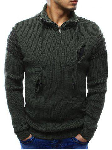 Zipper Stand Collar Ripped Sweater