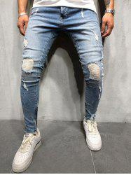 Striped Spliced Destroyed Casual Jeans -