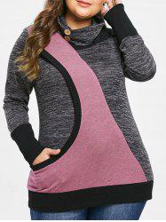 Plus Size Turtleneck Marled Sweatshirt -