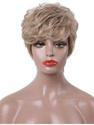 Short Side Bang Textured Layer Slightly Curly Human Hair Wig -