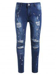 Zip Fly Ripped Paint Splatter Jeans -
