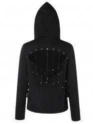 Strappy Cut Back Zip Up Hoodie -