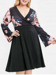 Plus Size Floral High Waist Surplice Dress -