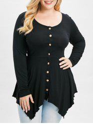Plus Size Buttons Handkerchief Peplum T-shirt -