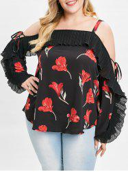 Plus Size Ruffle Floral Cold Shoulder Blouse -