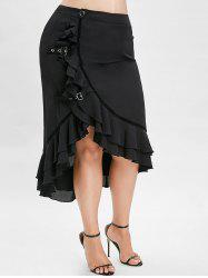 Plus Size High Low Maxi Skirt with Flounce -