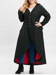 Plus Size Buttons Back Lace Up Asymmetric Hooded Maxi Coat -