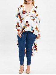Plus Size Plunge High Low Floral Maxi Blouse -