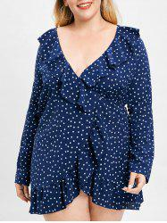 Plus Size Star Print Ruffled Wrap Dress -