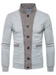 Button Up Stand Collar Panel Cardigan -