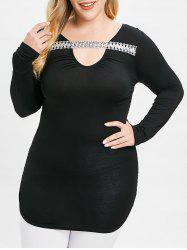 Plus Size Sequined Cut Out Tee -