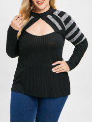 Plus Size Contrast Stripe Cut Out Knit Top -