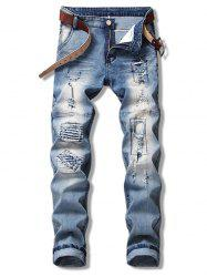 Ripped Hole Splicing Straight Jeans -