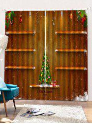 2PCS Christmas Tree Wooden Printed Window Curtains -