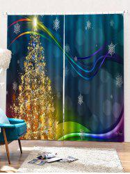 2PCS Christmas Tree Snowflake Printed Window Curtains -