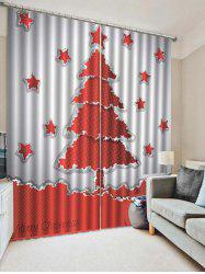 2PCS Christmas Tree Star Printed Window Curtains -