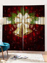 2PCS Christmas Bell Printed Window Curtains -