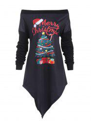 Plus Size Christmas Tree Asymmetric Longline Tee -