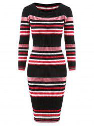 Striped Bodycon Knitwear Dress -