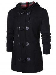 Checked Print Panel Hooded Duffle Coat -
