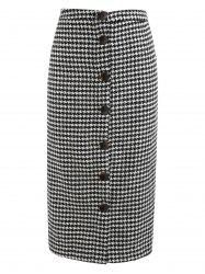 Houndstooth Print Button Up Mid Calf Skirt -