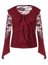 Plus Size See Through Long Sleeves Ruffles Lace Blouse -