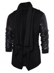 PU Leather Panel Open Front Coat -