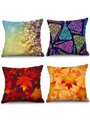 4PCS Maple Leaf Printed Theme Pillowcases -