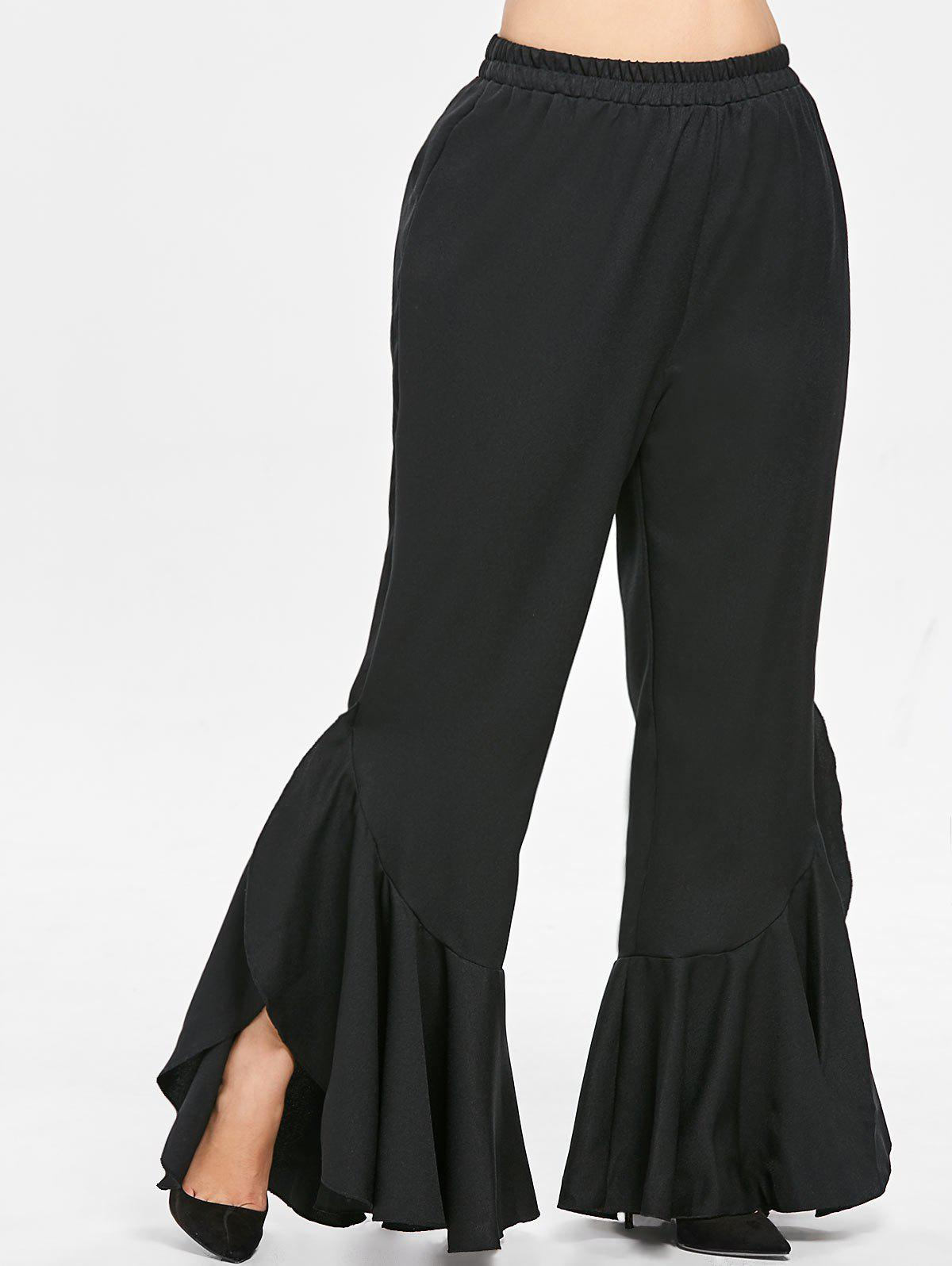Cheap Plus Size Ruffle Trim Pants