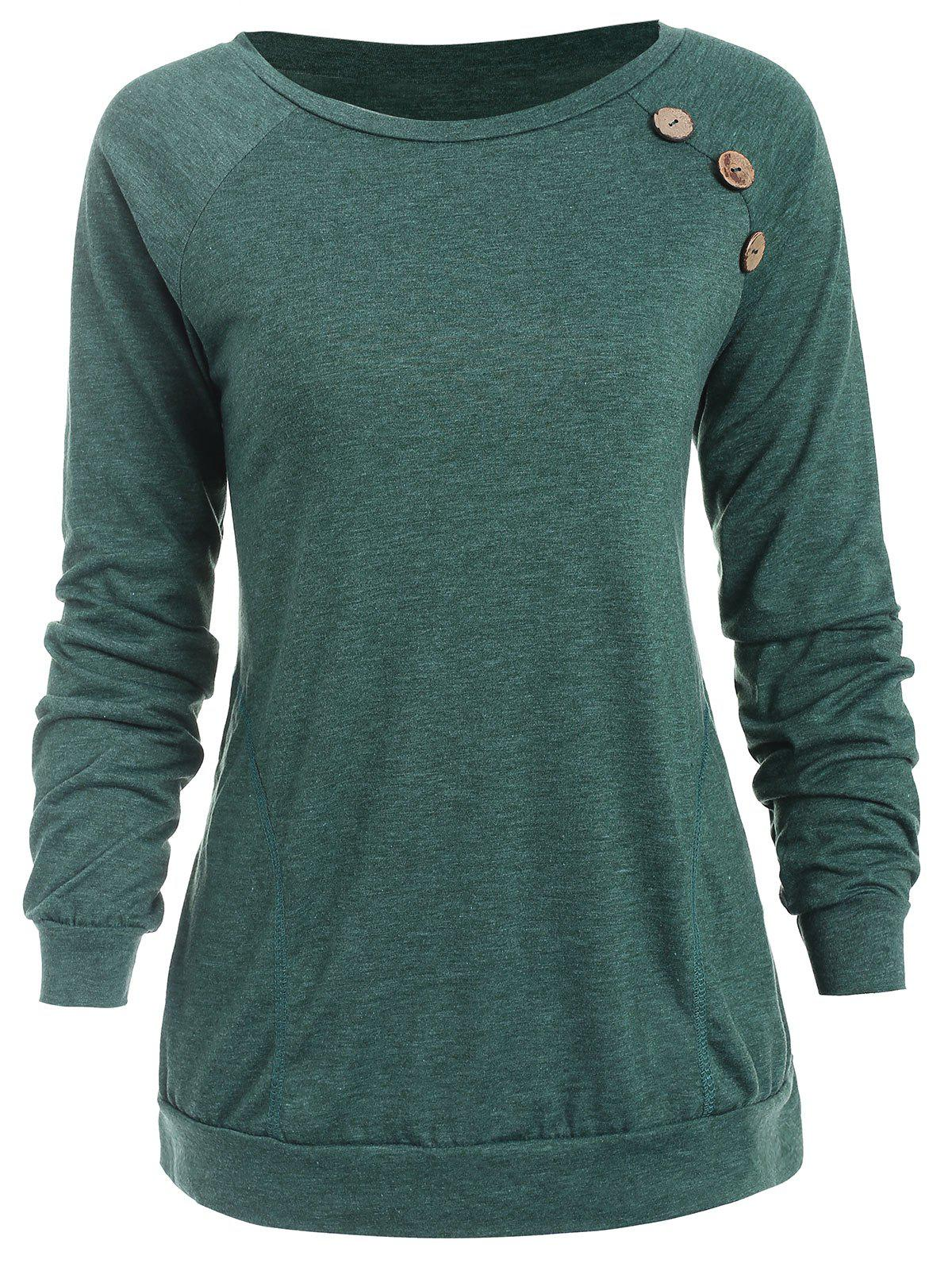 Unique Buttons Embellished Long Sleeve T-shirt