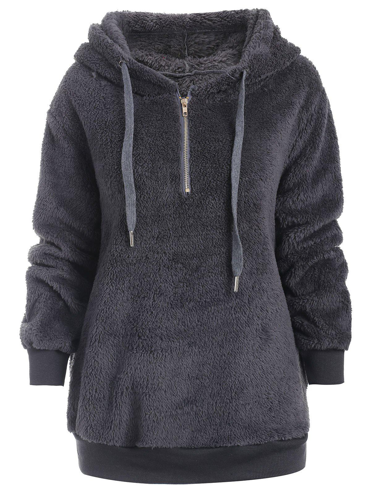 Hot Half Zipper Drawstring Fluffy Hoodie