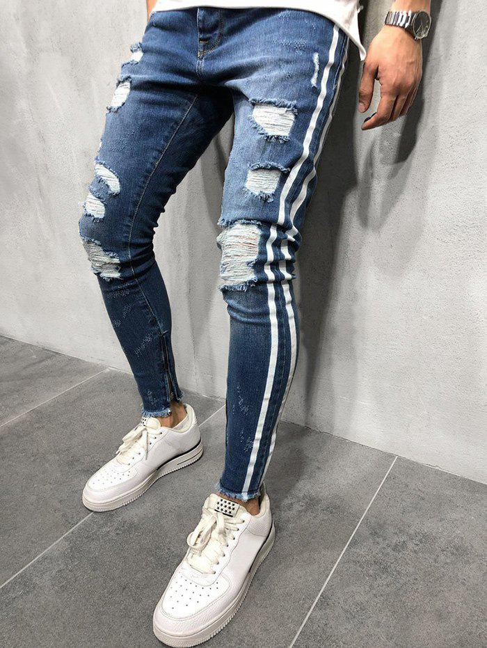 Chic Striped Spliced Destroyed Casual Jeans