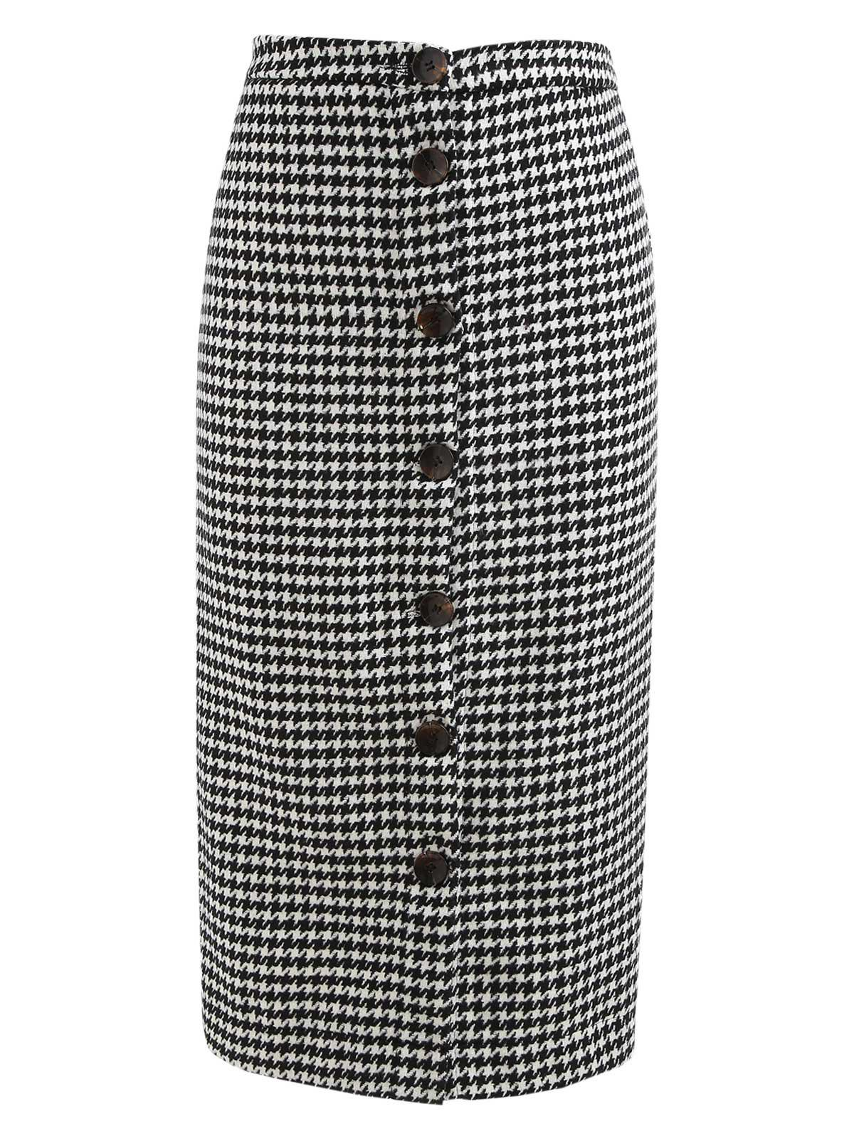 Fancy Houndstooth Print Button Up Mid Calf Skirt