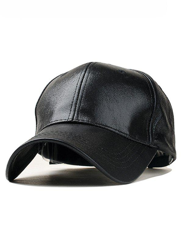 45270da188e 2018 Curved Brim Faux Leather Baseball Hat In Black