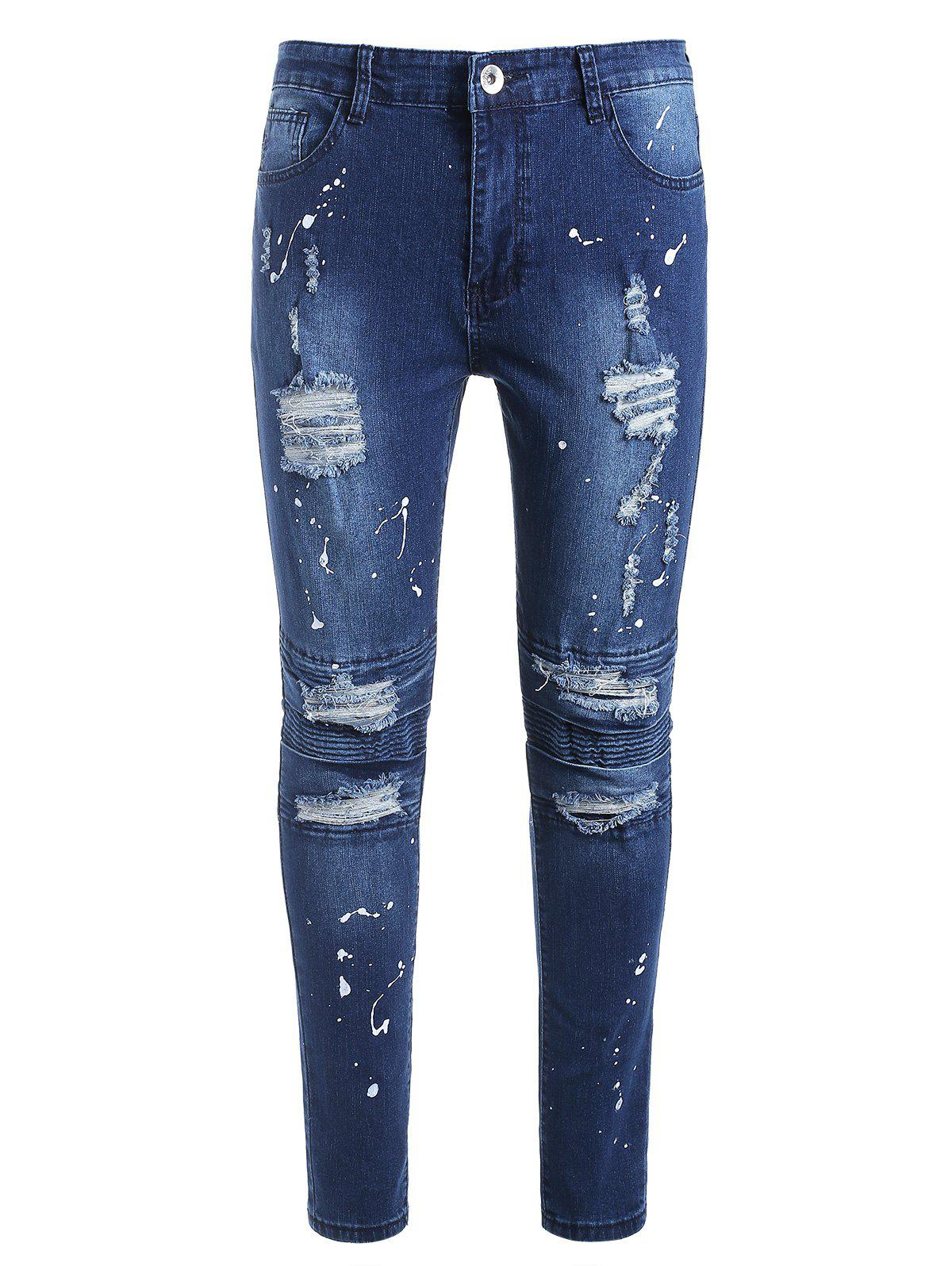 Store Zip Fly Ripped Paint Splatter Jeans