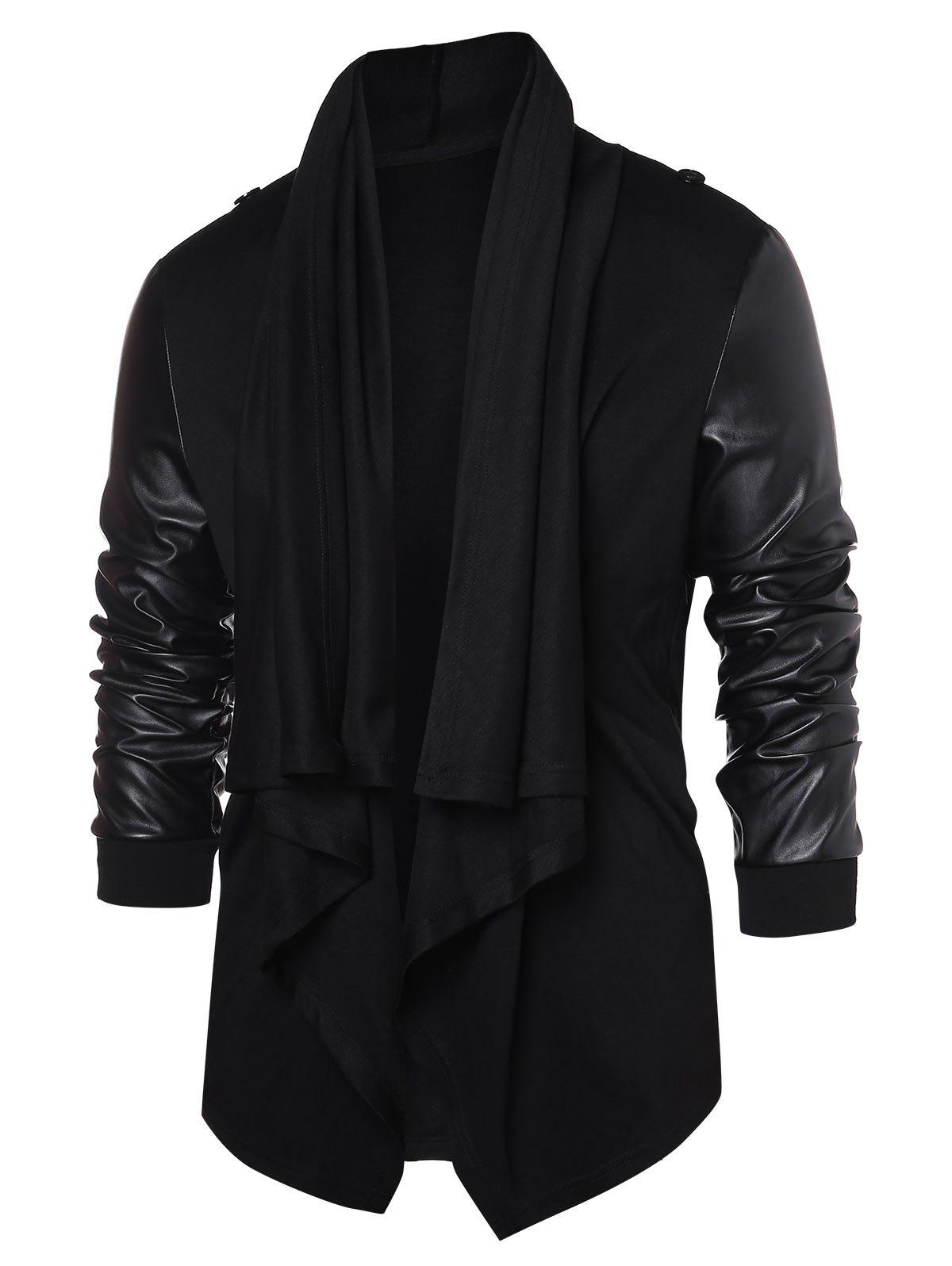 Hot PU Leather Panel Open Front Coat